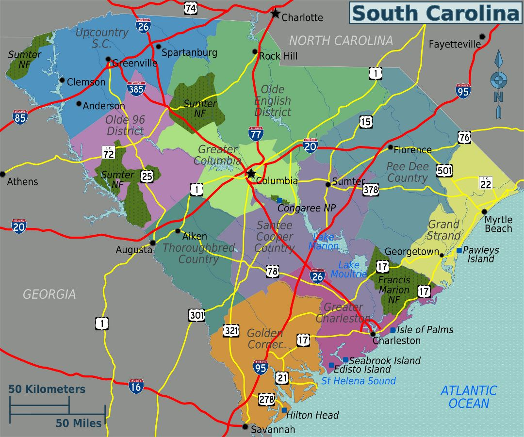 Large regions map of South Carolina state