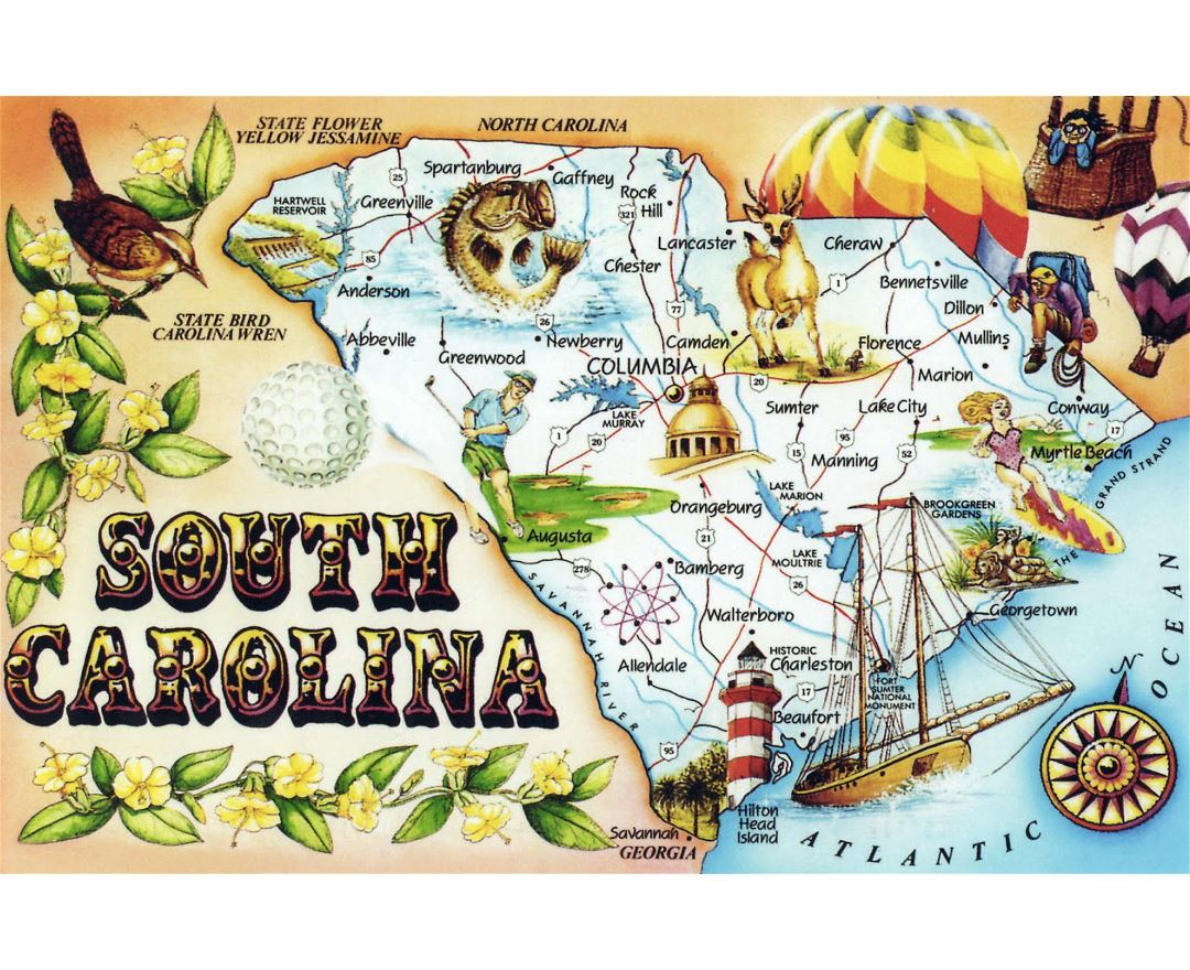 Large tourist illustrated map of South Carolina state