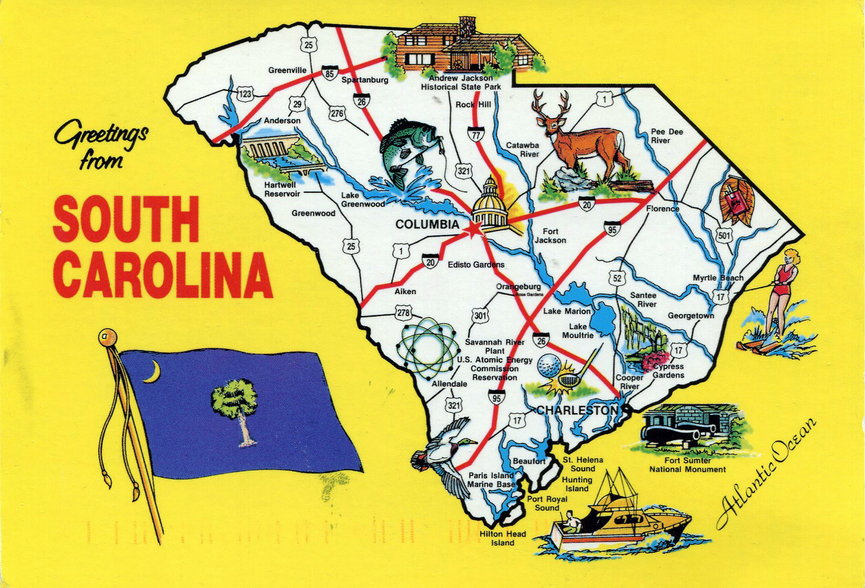 Large tourist illustrated map of the state of South Carolina South