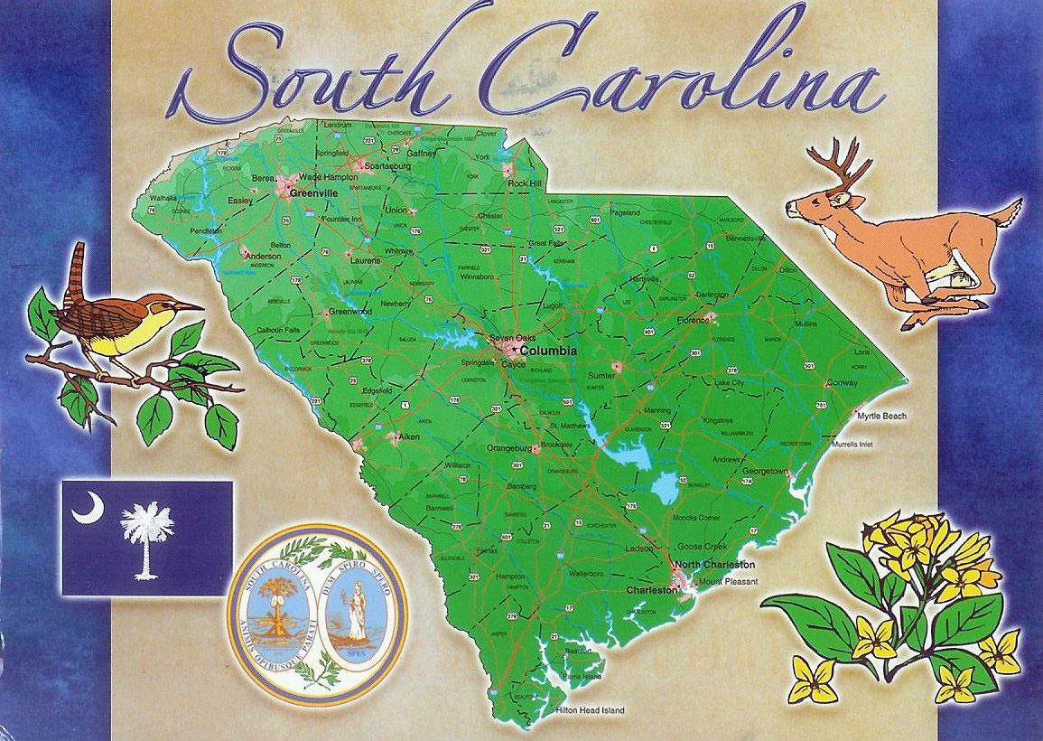 South Carolina state postcard with map | South Carolina ...