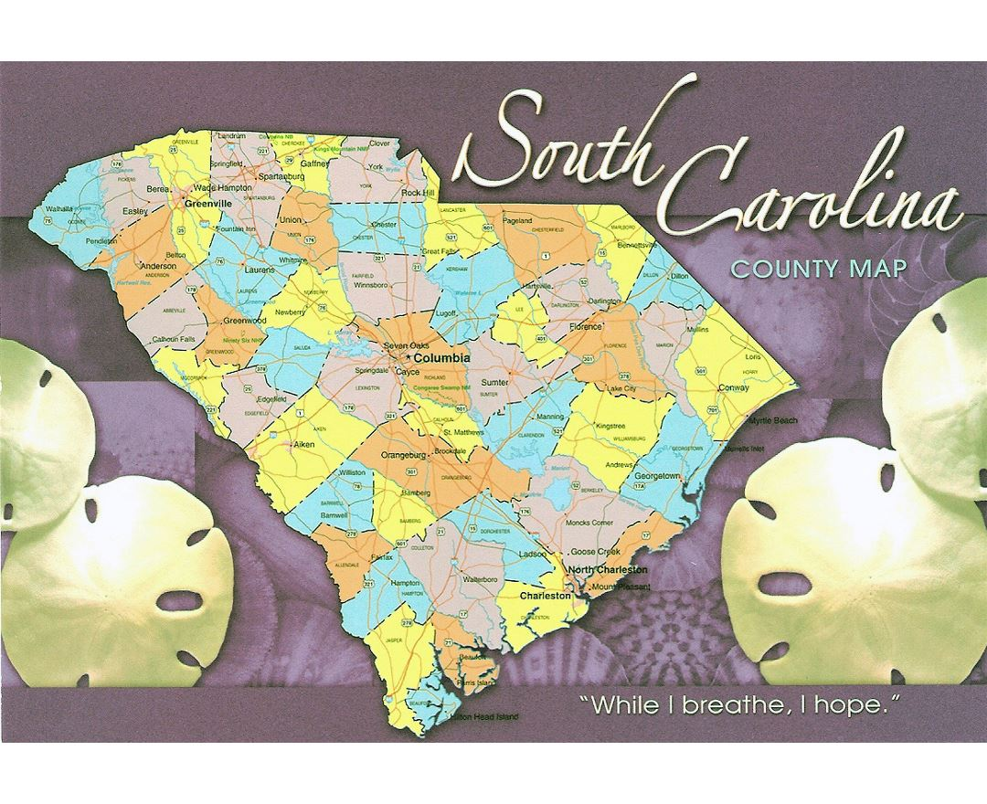 The state of South Carolina postcard with map