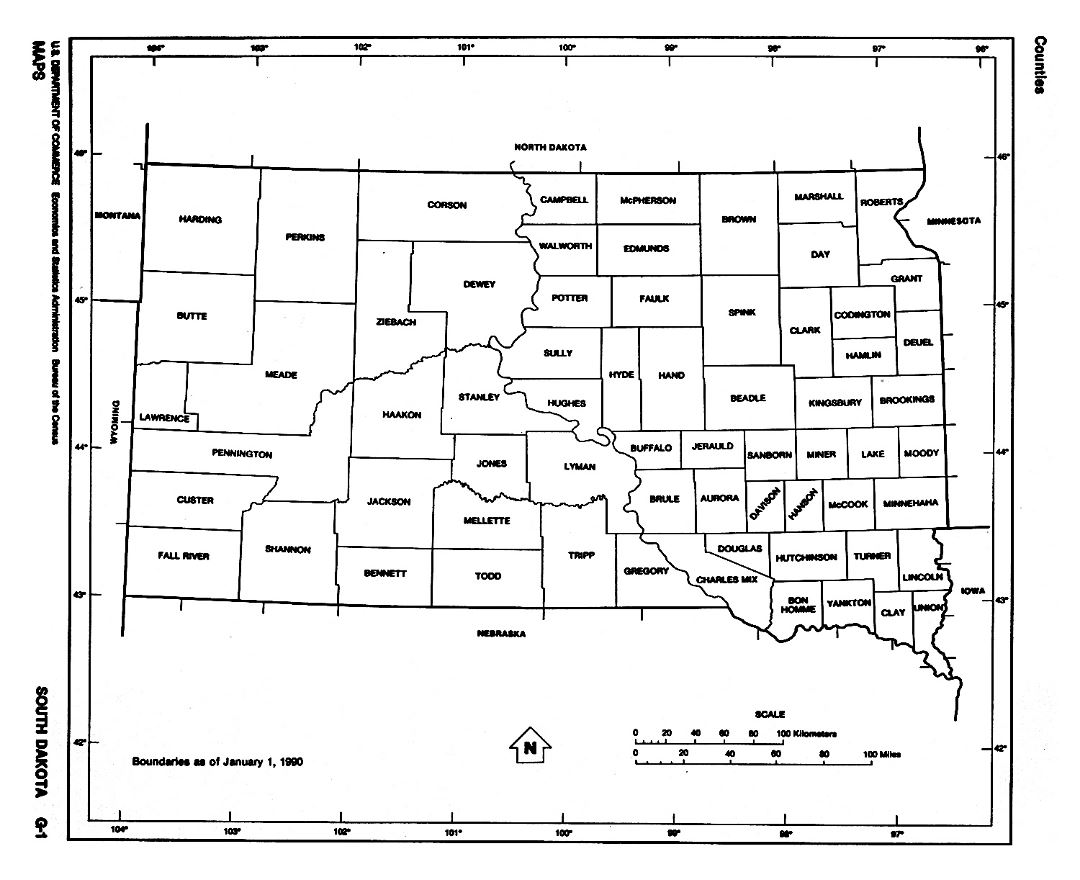 Detailed administrative map of South Dakota state