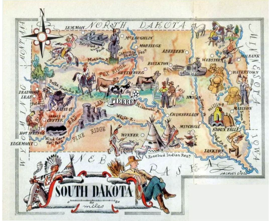 Detailed tourist illustrated map of South Dakota state
