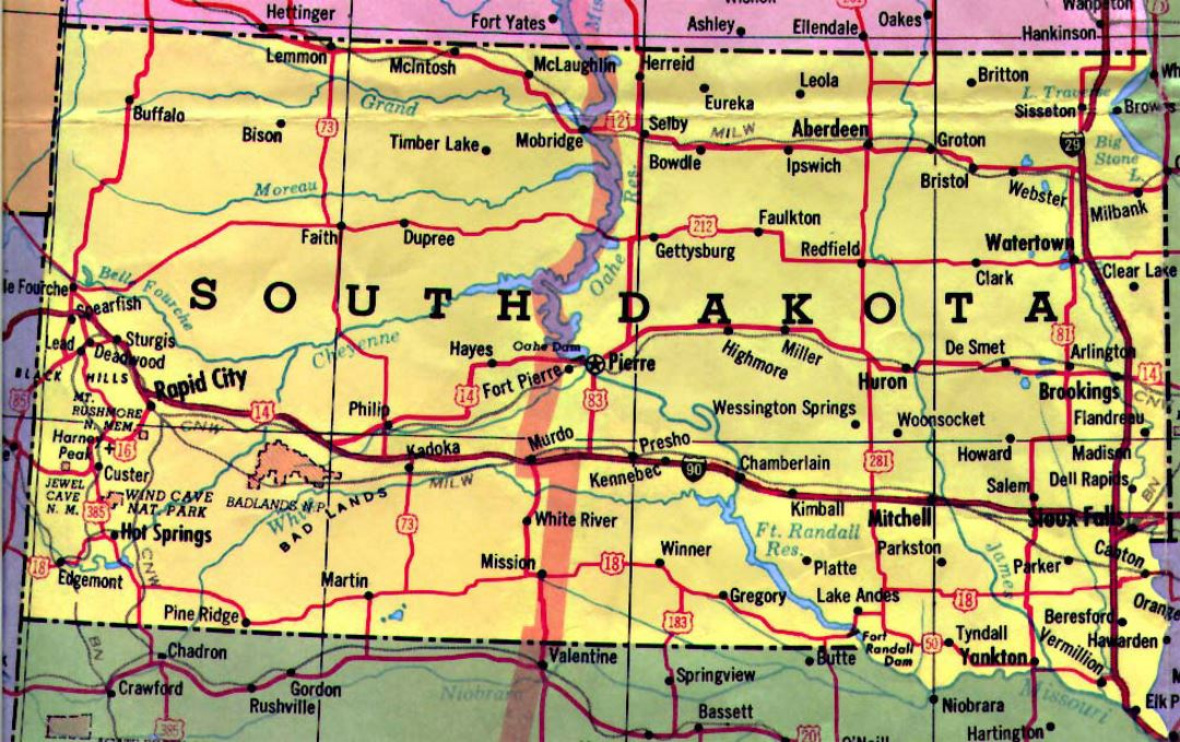 Highways map of South Dakota state