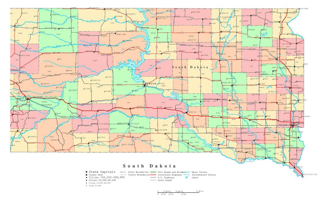 Large detailed administrative map of South Dakota state with roads, highways and cities
