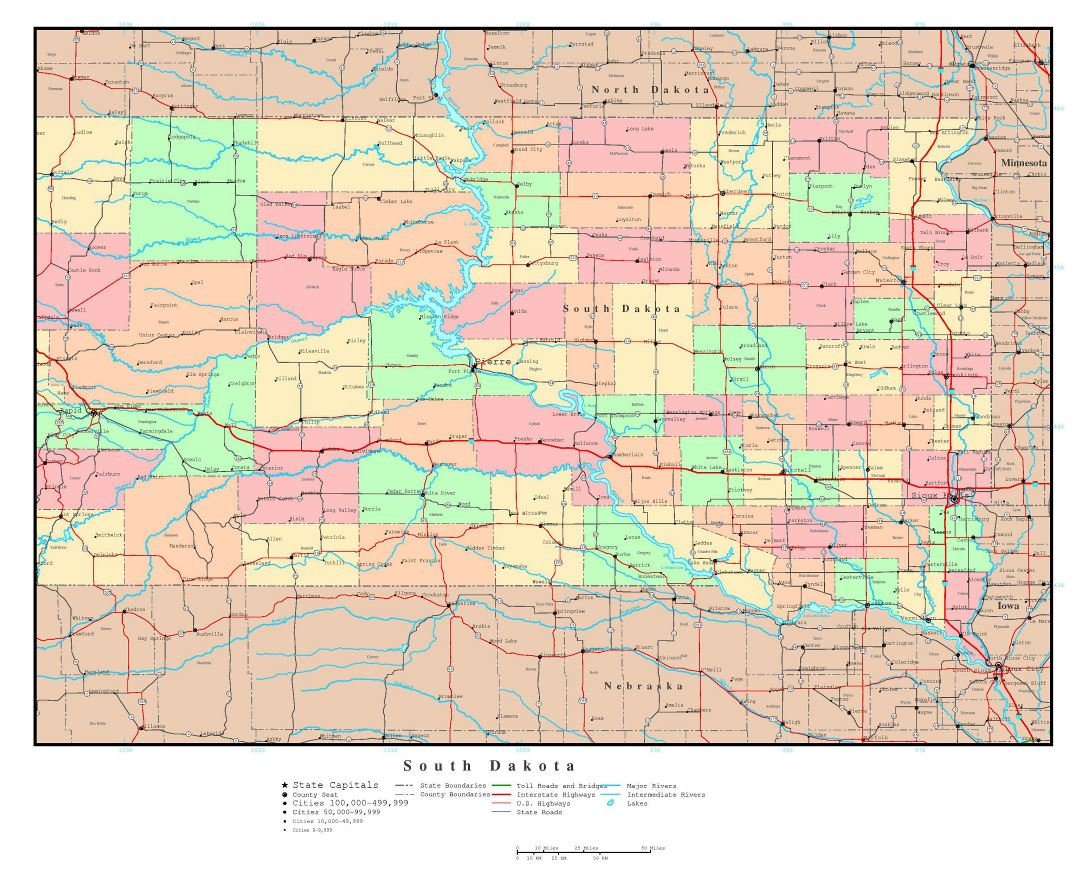 Maps Of South Dakota State Collection Of Detailed Maps Of South - Road map of south dakota