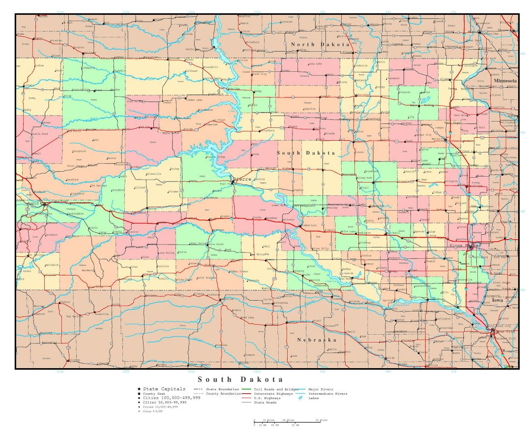 Large detailed administrative map of South Dakota state with roads, highways and major cities