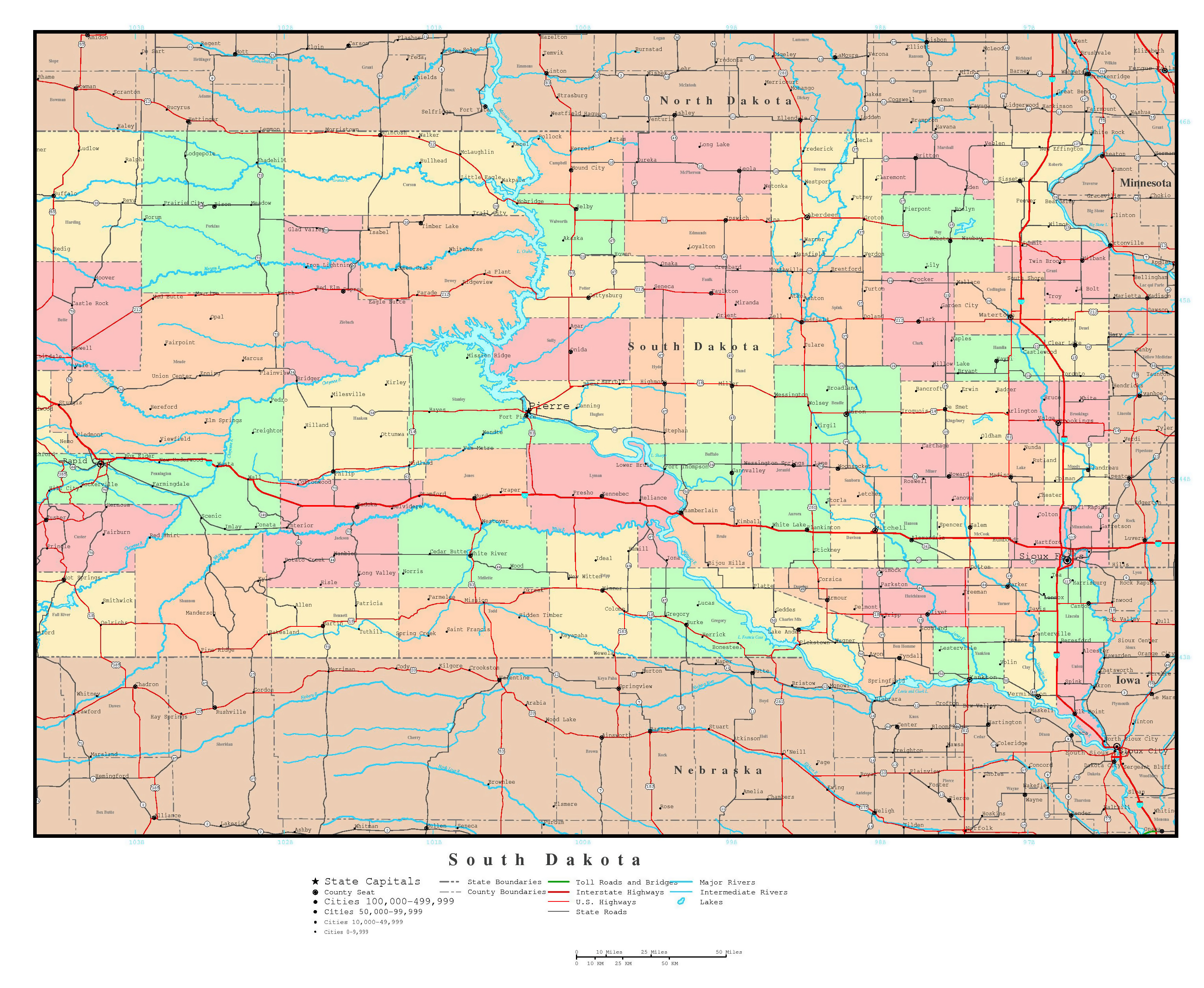 Large Detailed Administrative Map Of South Dakota State With Roads - Map of usa with states and capitals and major cities