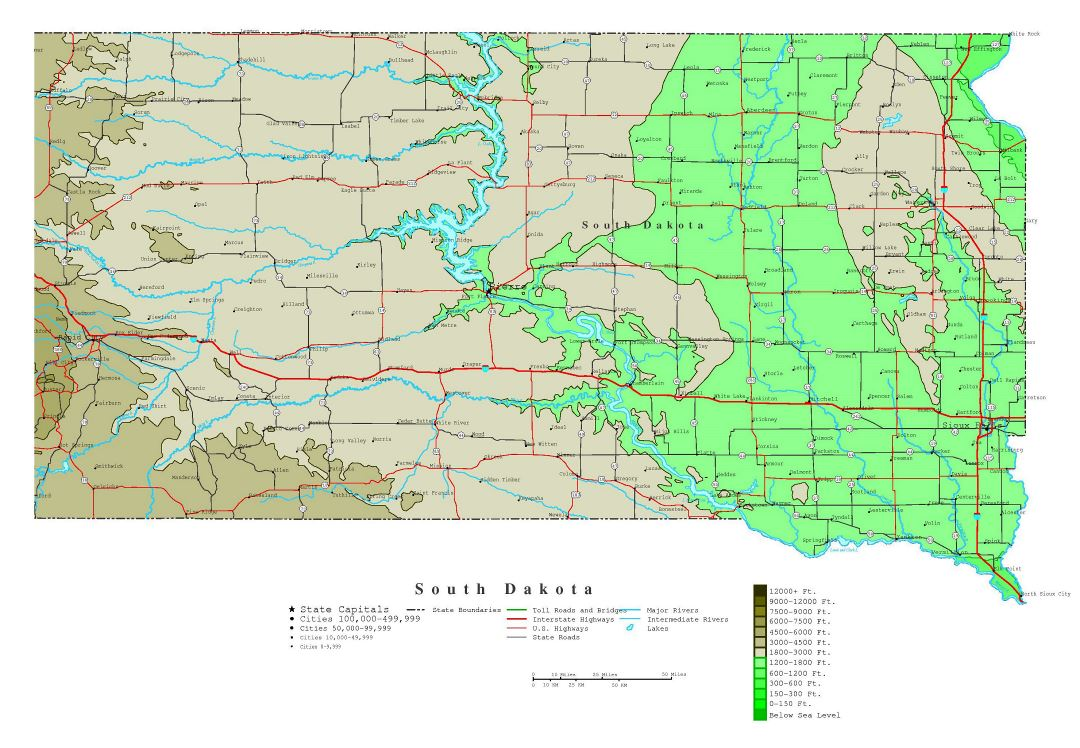 Large detailed elevation map of South Dakota state with roads, highways and all cities
