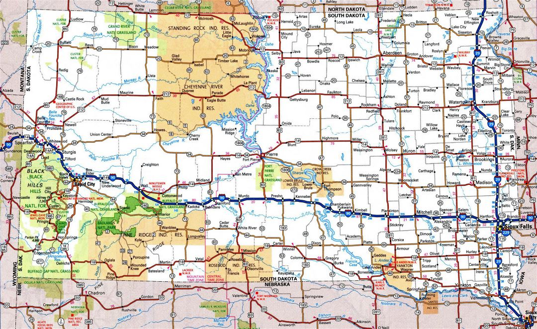 Large detailed roads and highways map of South Dakota state with all cities and national parks