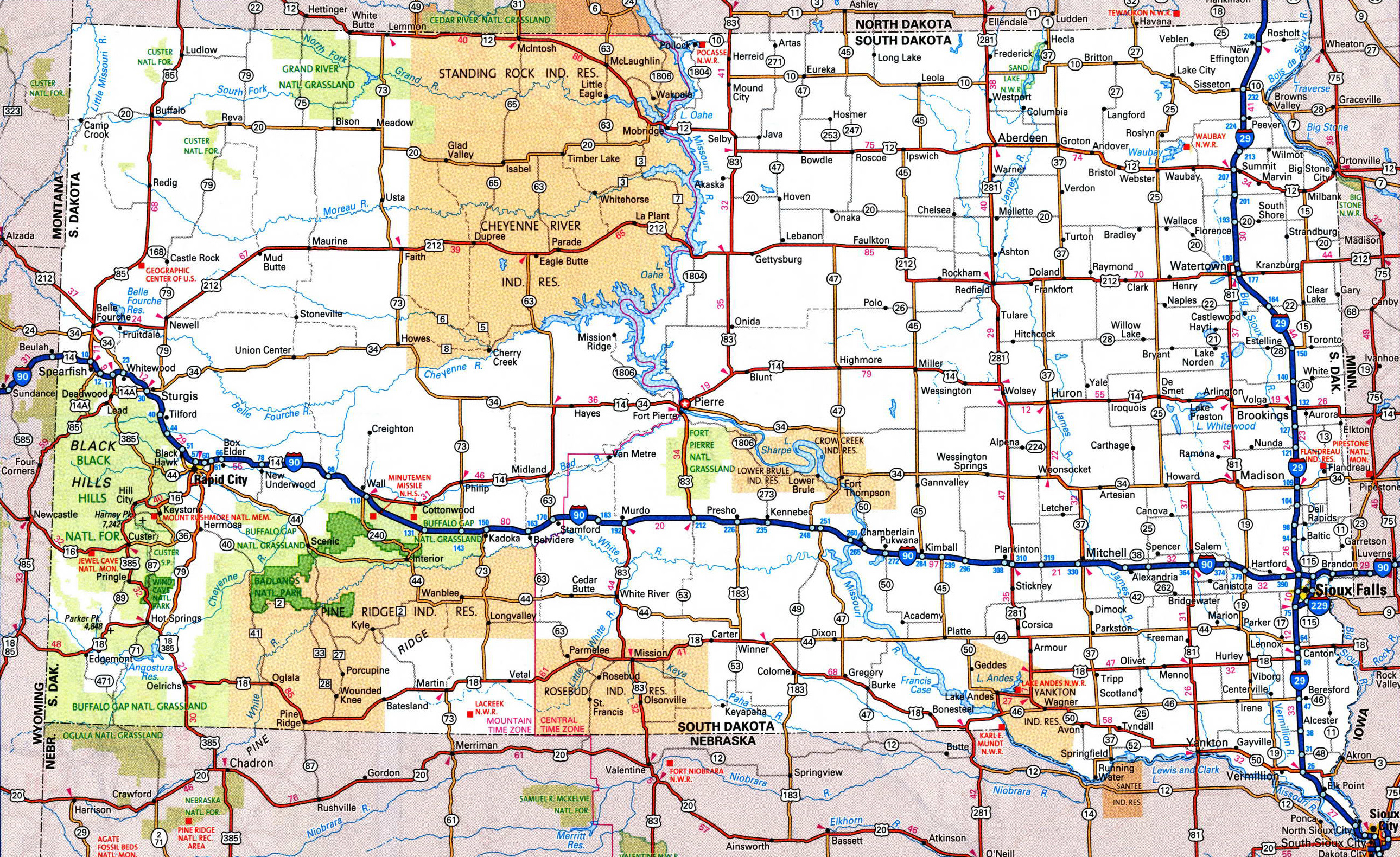 Large detailed roads and highways map of South Dakota state ...