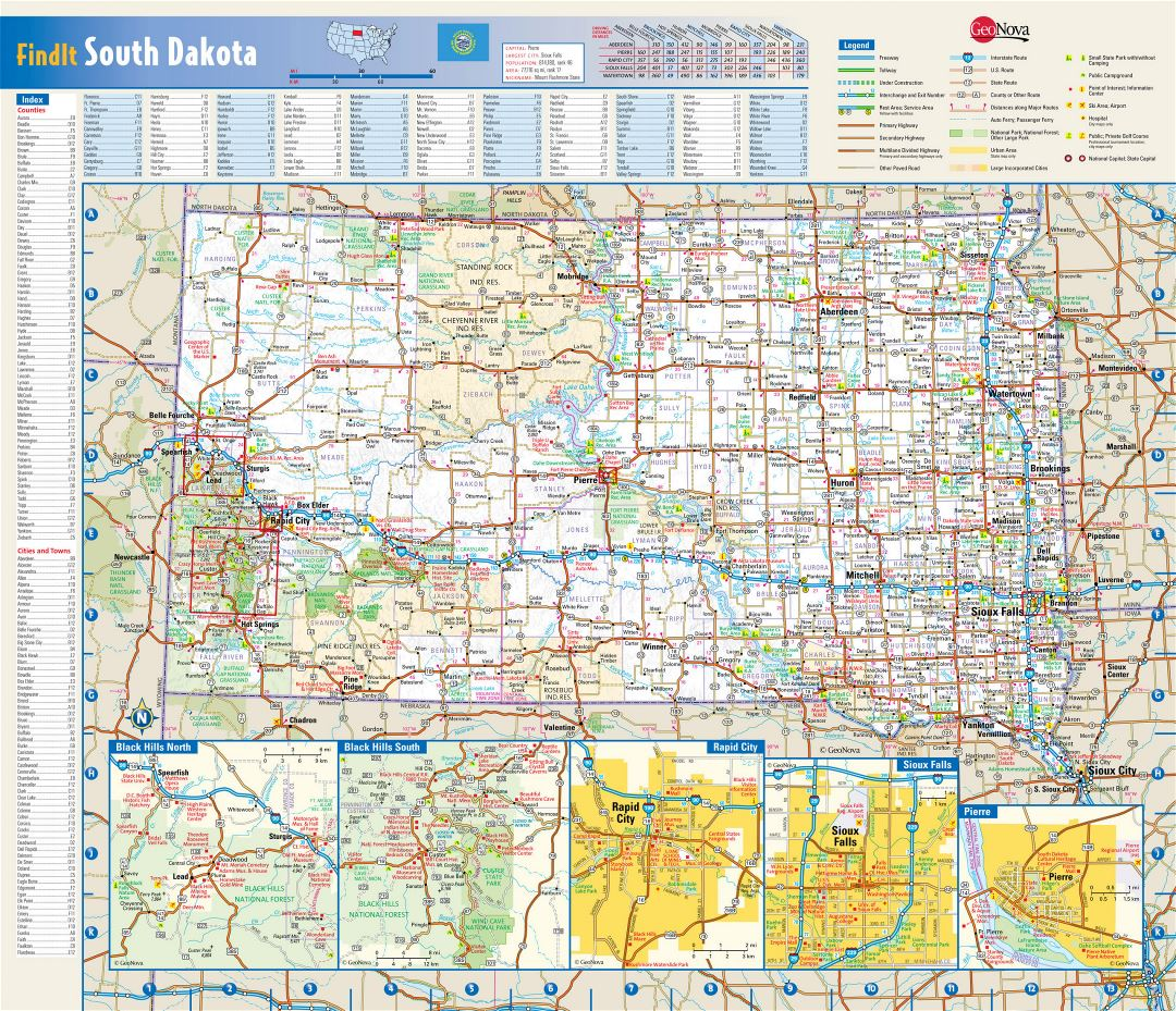Large detailed roads and highways map of South Dakota state with national parks, all cities, towns and villages