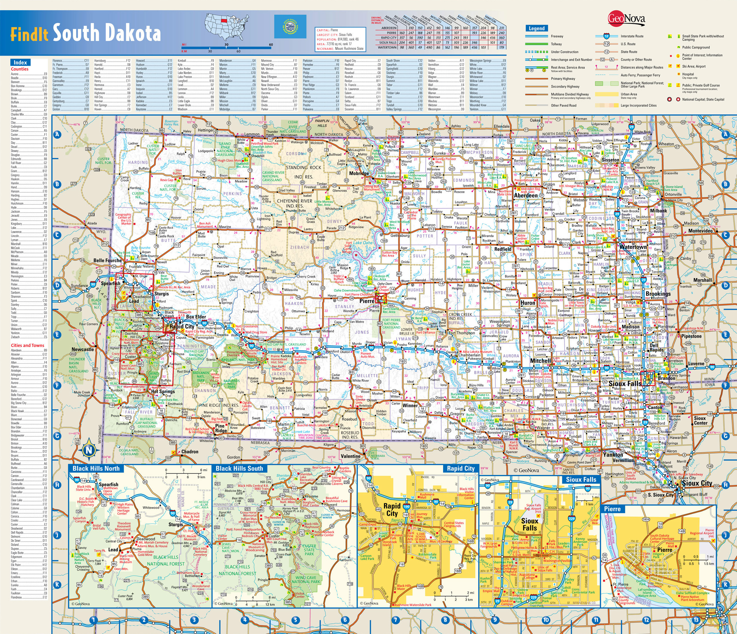 Large Detailed Roads And Highways Map Of South Dakota State With - Map usa south