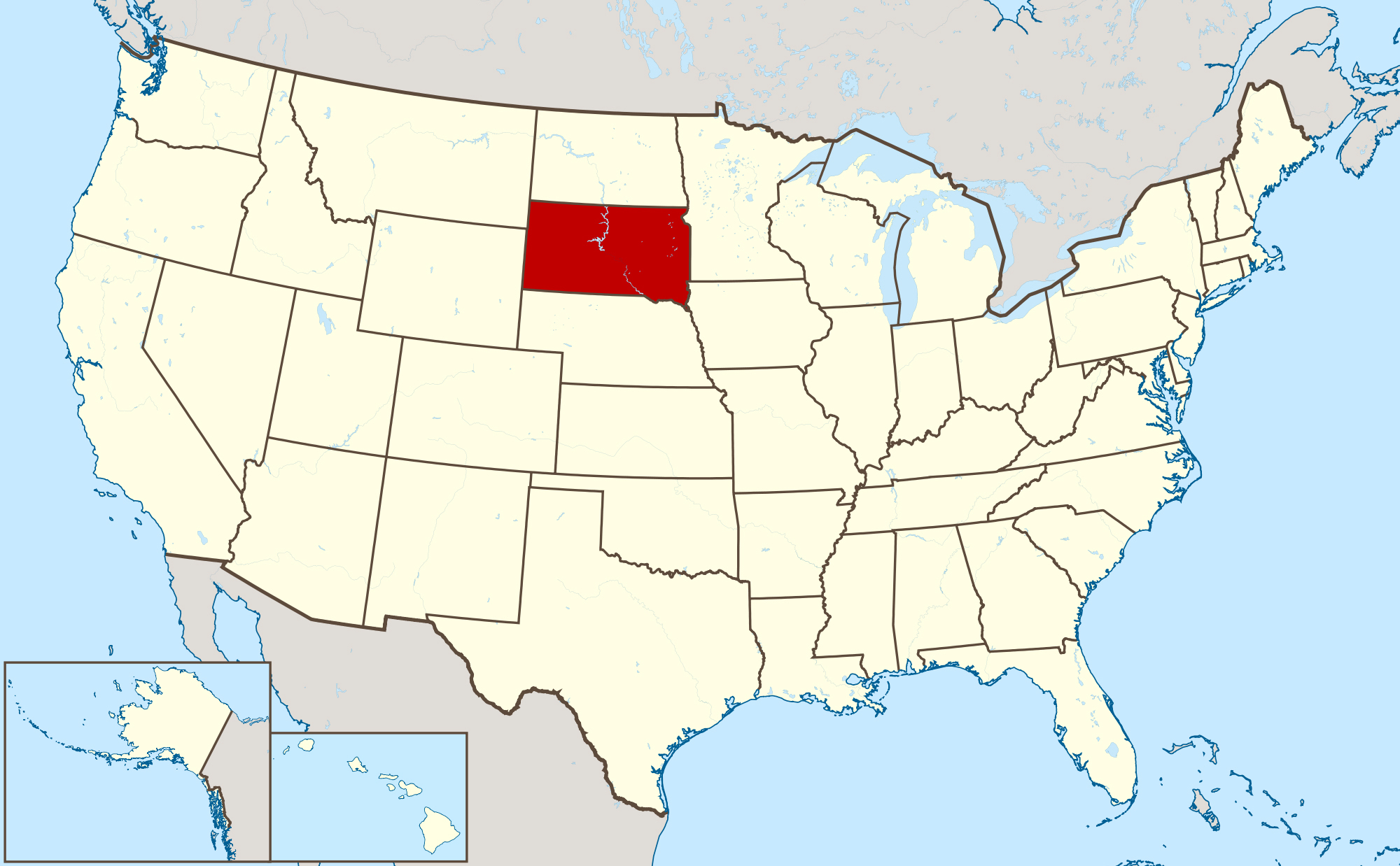 Large location map of South Dakota state South Dakota state USA