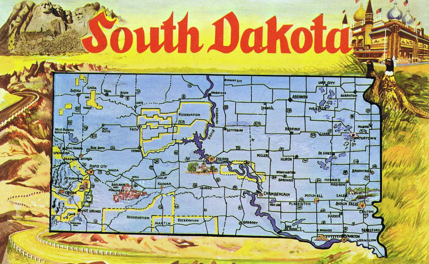 Large Tourist Illustrated Map Of South Dakota State South Dakota - Map of south dakota