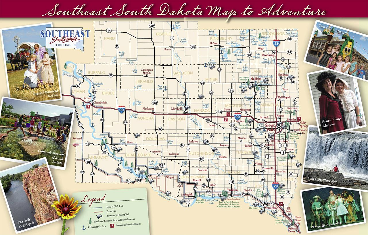 Large tourist map of South Dakota state South Dakota state USA