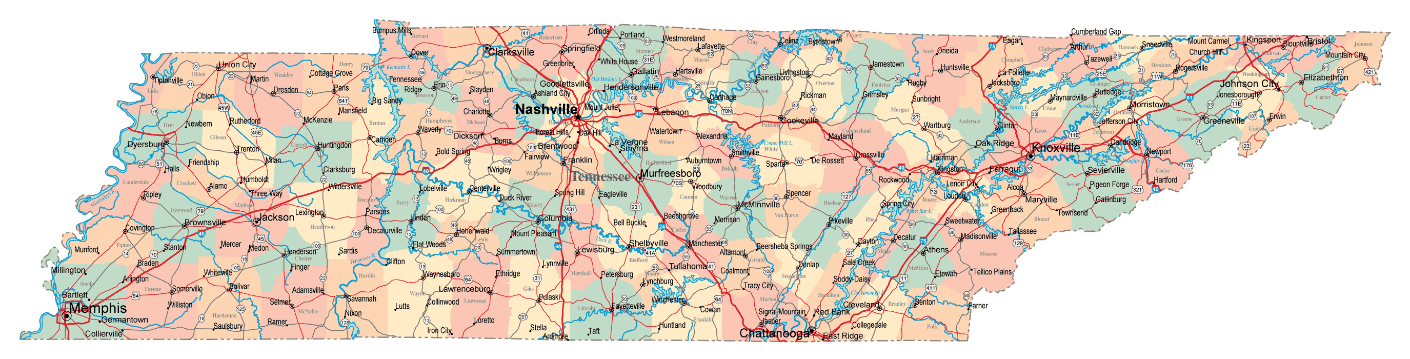 Large administrative map of Tennessee state with roads highways and