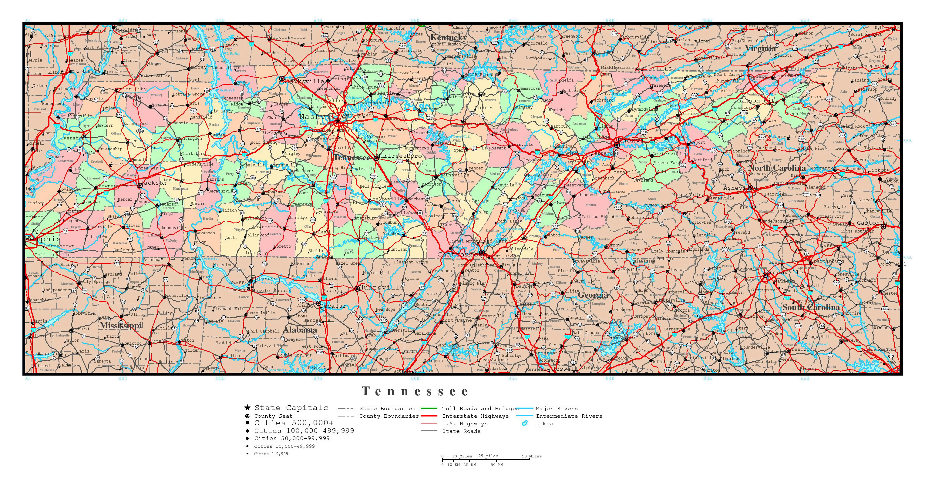 Large Detailed Administrative Map Of Tennessee State With Roads - Map of the united states major cities