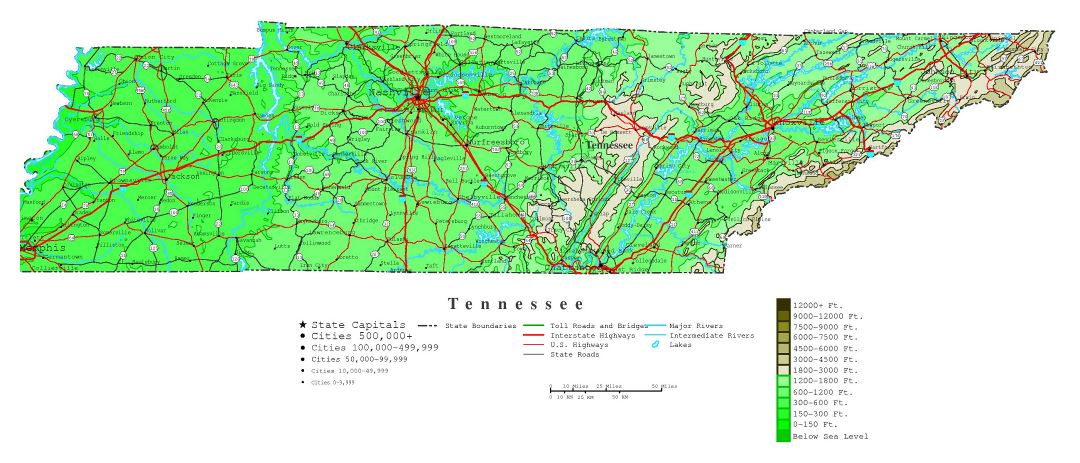 Large detailed elevation map of Tennessee state with roads, highways and all cities