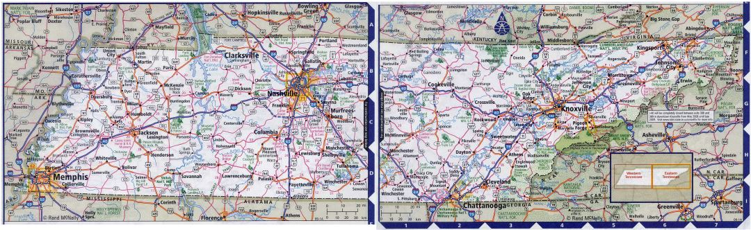 Large detailed roads and highways map of Tennessee state with all cities