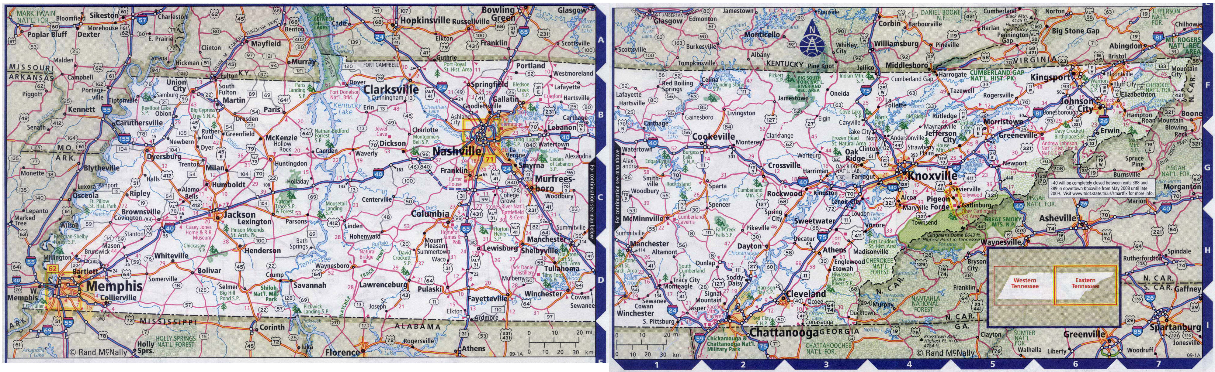 Large detailed roads and highways map of Tennessee state ...