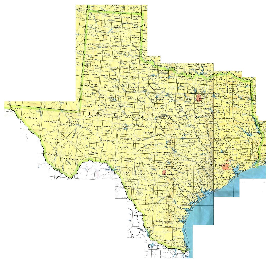 Administrative map of Texas state