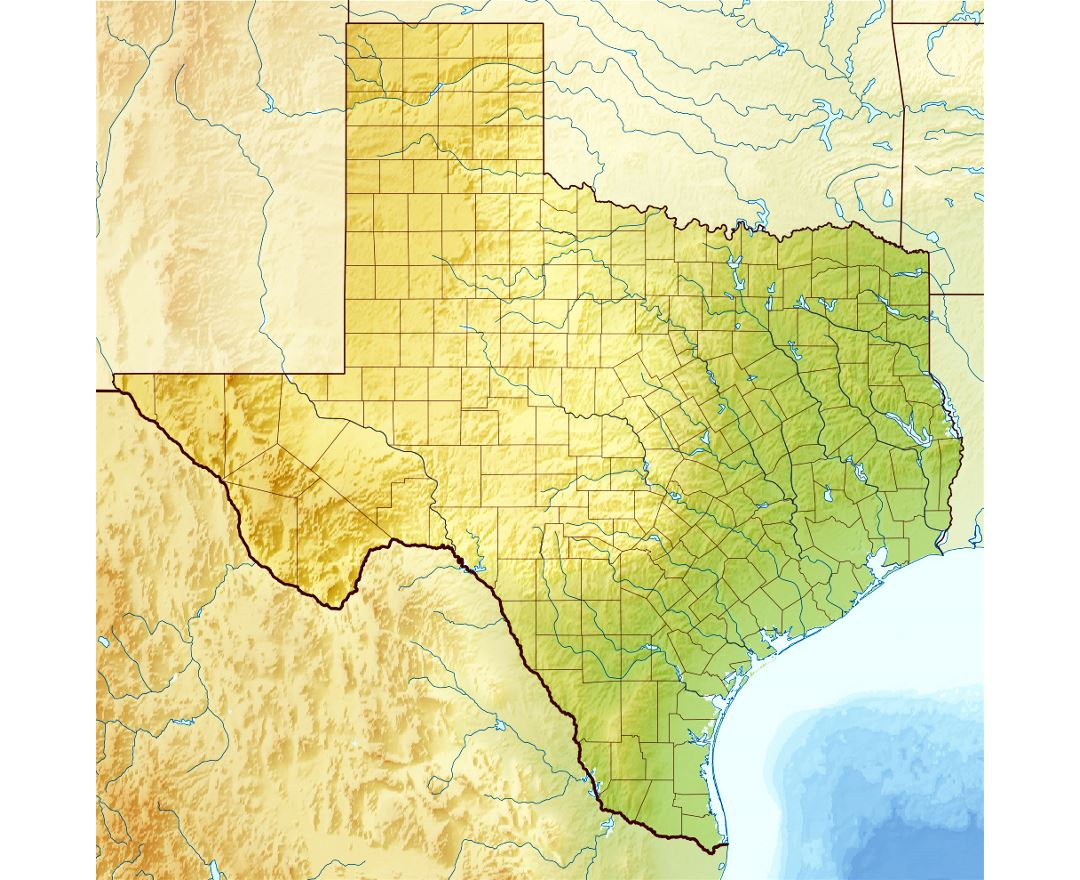 Detailed relief map of Texas state