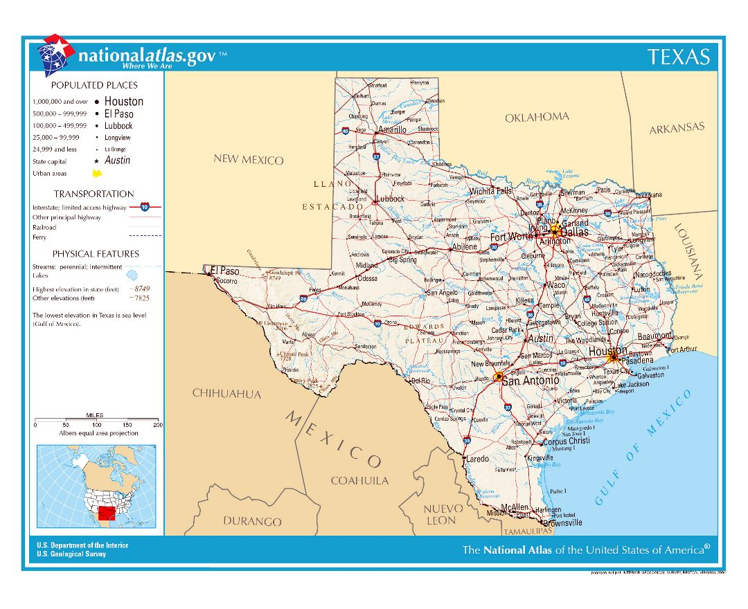 Large detailed map of Texas state