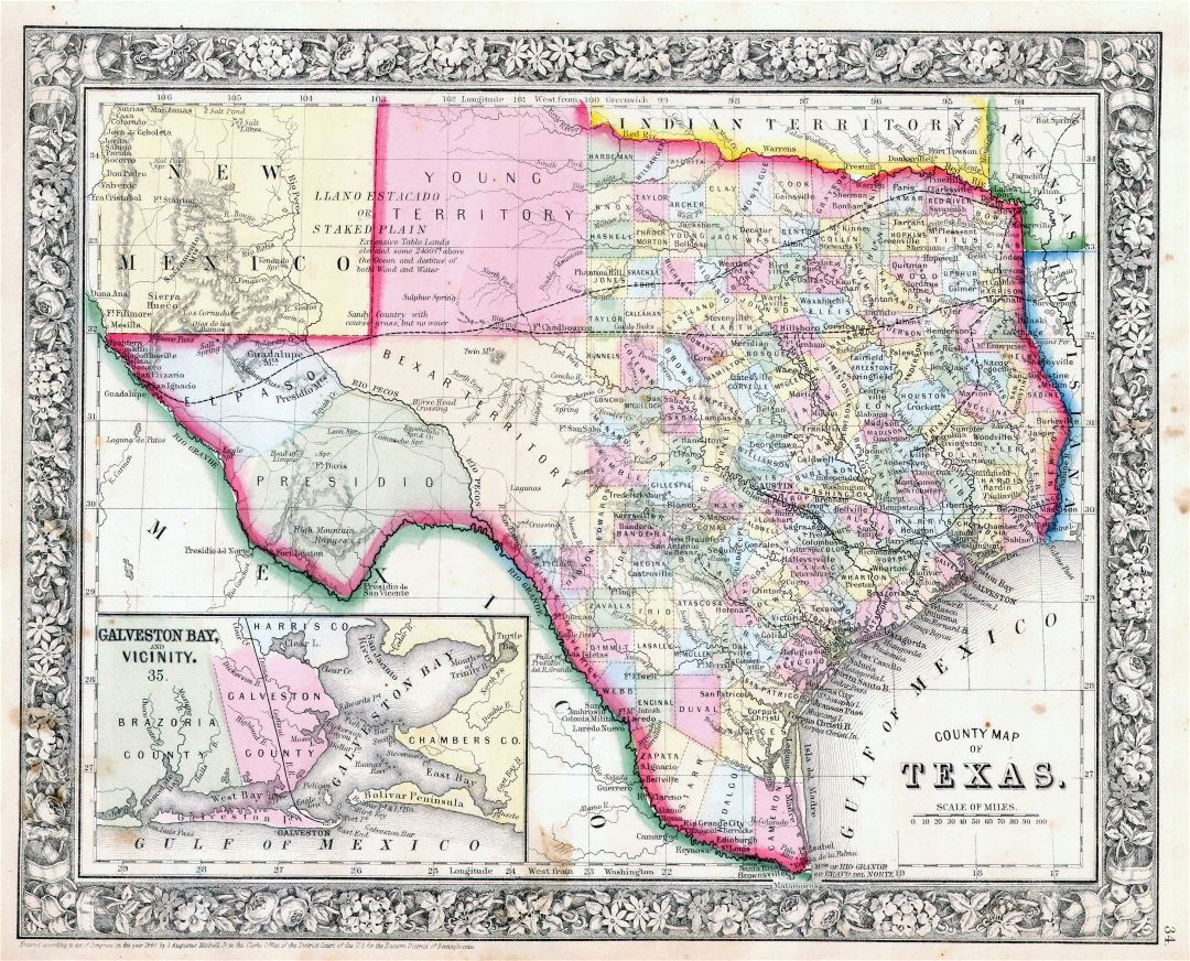 Large detailed old administrative map of Texas state with relief and other marks - 1864