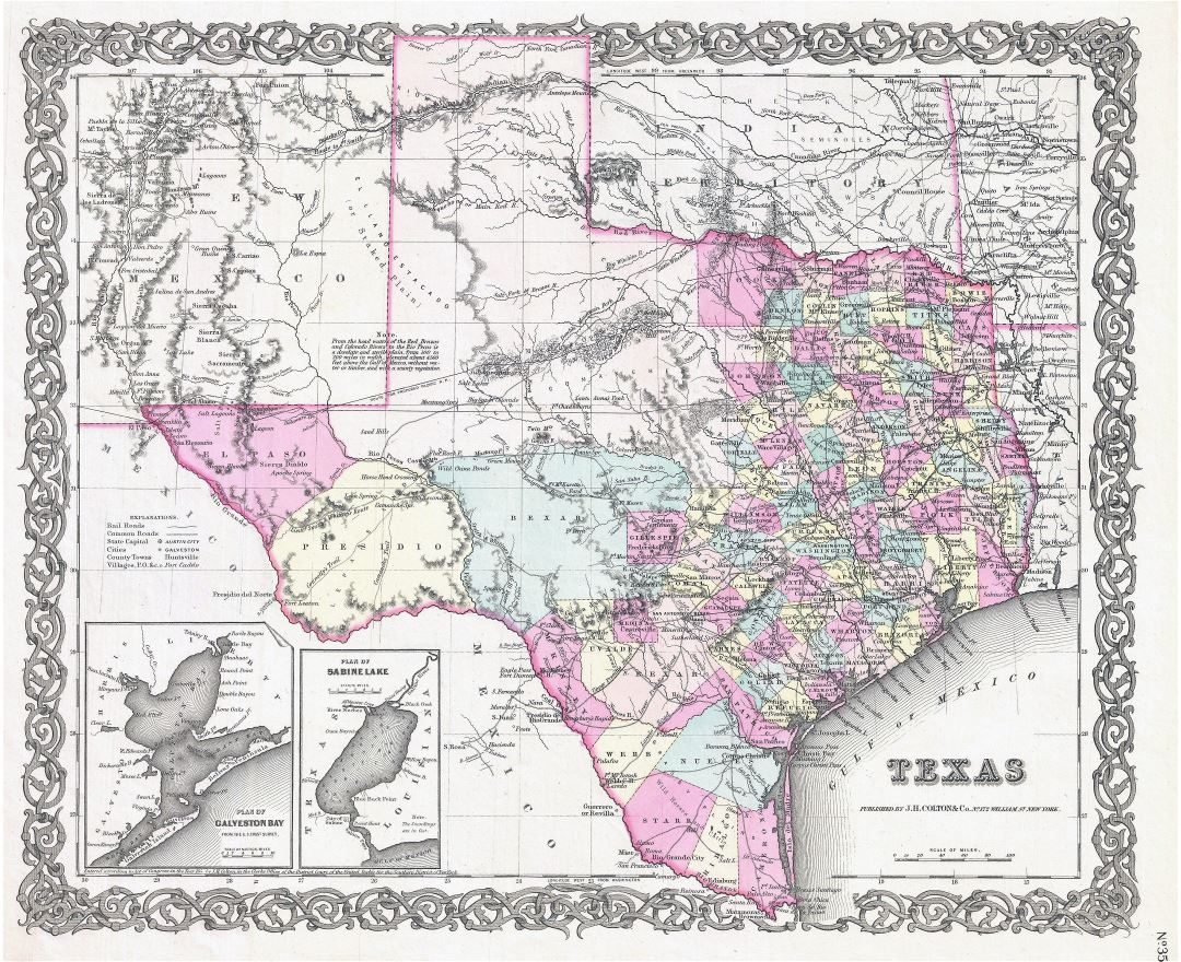 Large detailed old administrative map of Texas state with relief, roads, cities and other marks - 1855