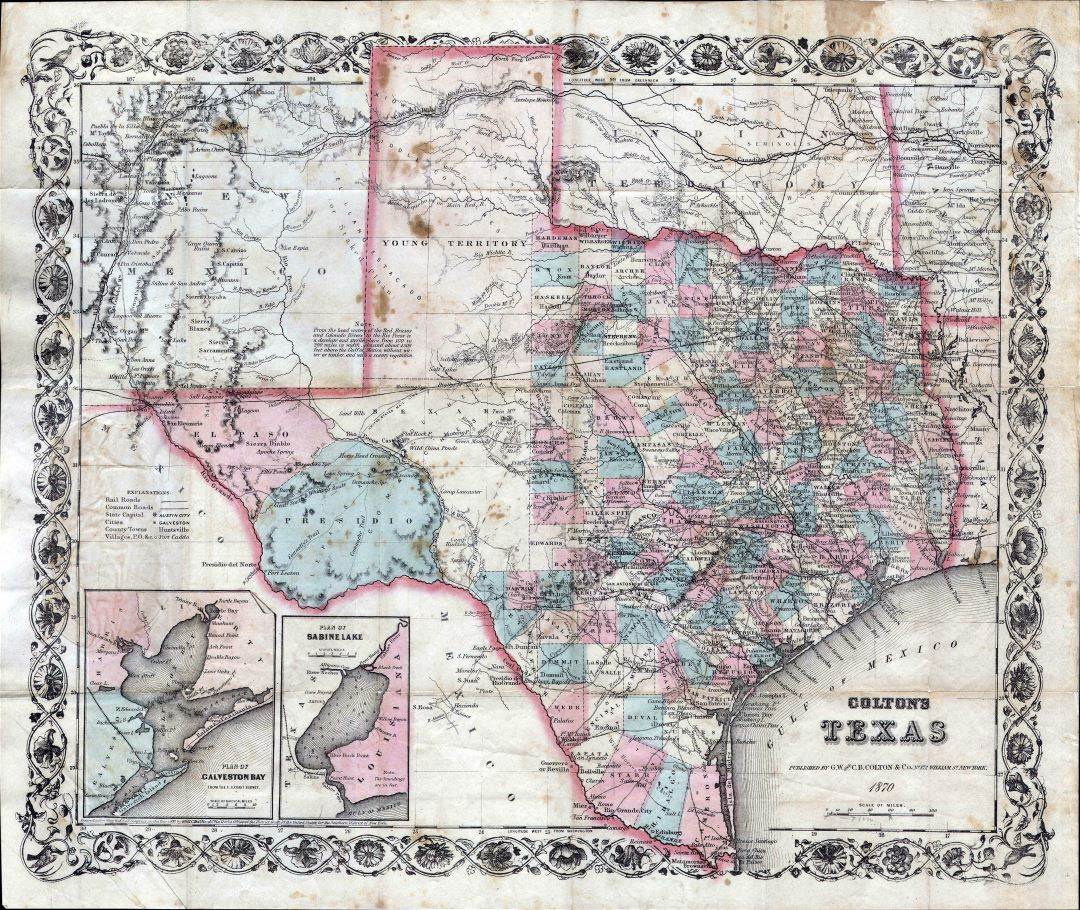 Large detailed old administrative map of Texas state with relief, roads, railroads and cities - 1870