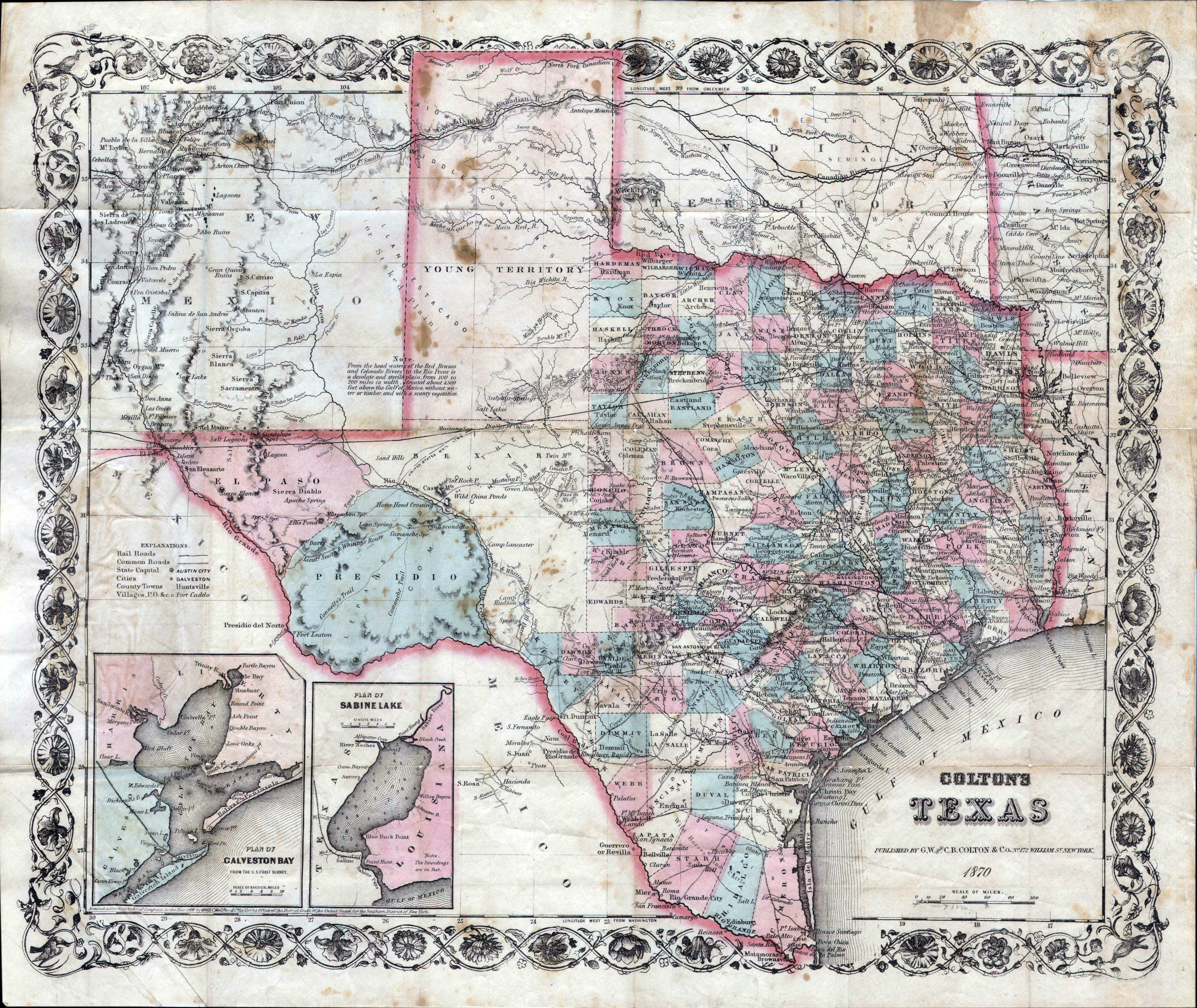 Map Of Texas Railroads.Large Detailed Old Administrative Map Of Texas State With Relief