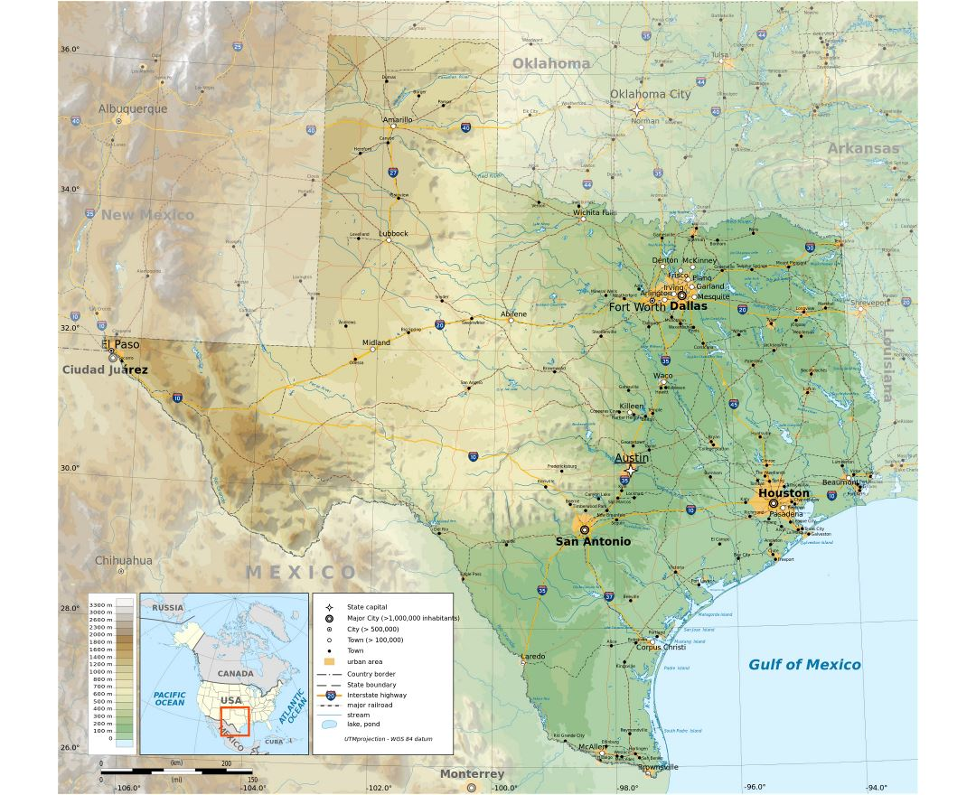 Large detailed physical map of the state of Texas with roads, highways, cities and other marks