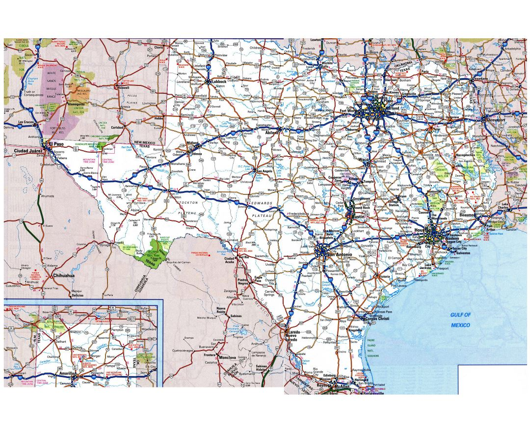 Large detailed roads and highways map of Texas state with all cities and national parks