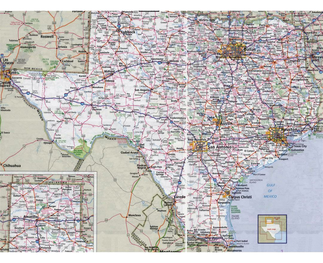 Large detailed roads and highways map of Texas state with all cities