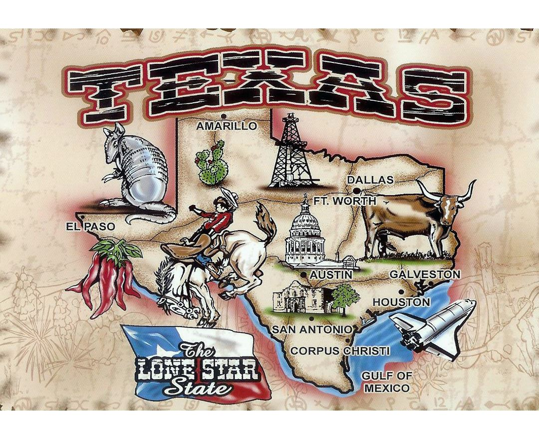 Large illustrated map of Texas state