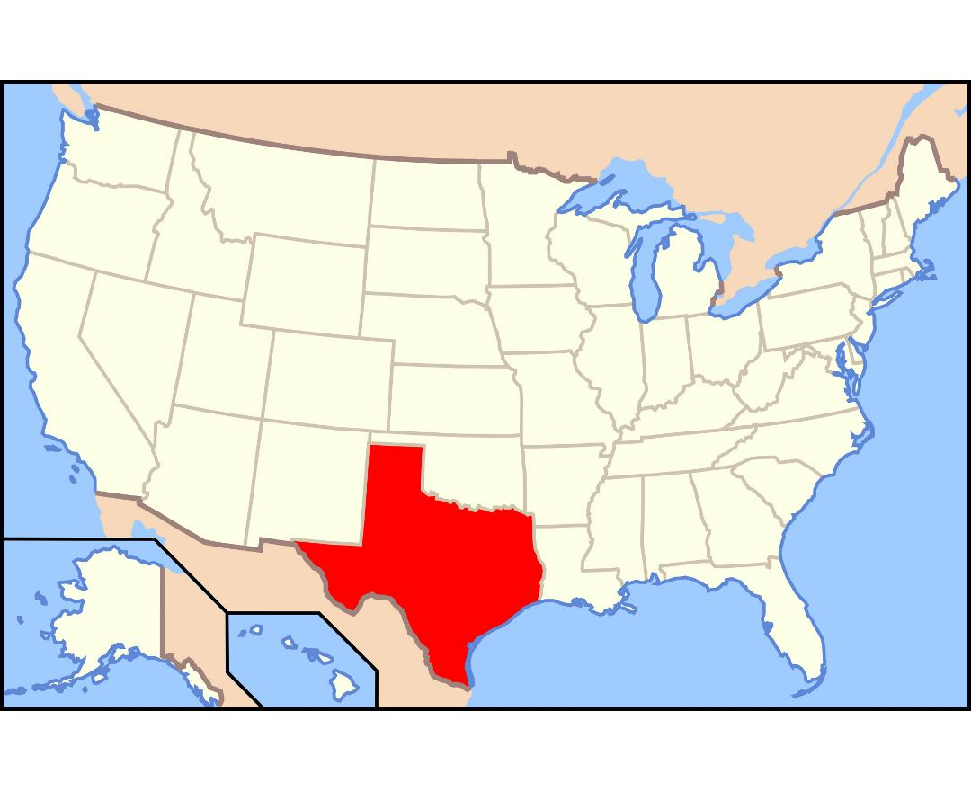 Large location map of Texas state