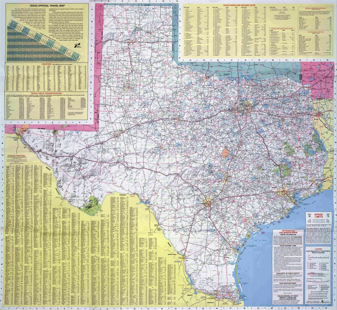 Large road map of the state of Texas
