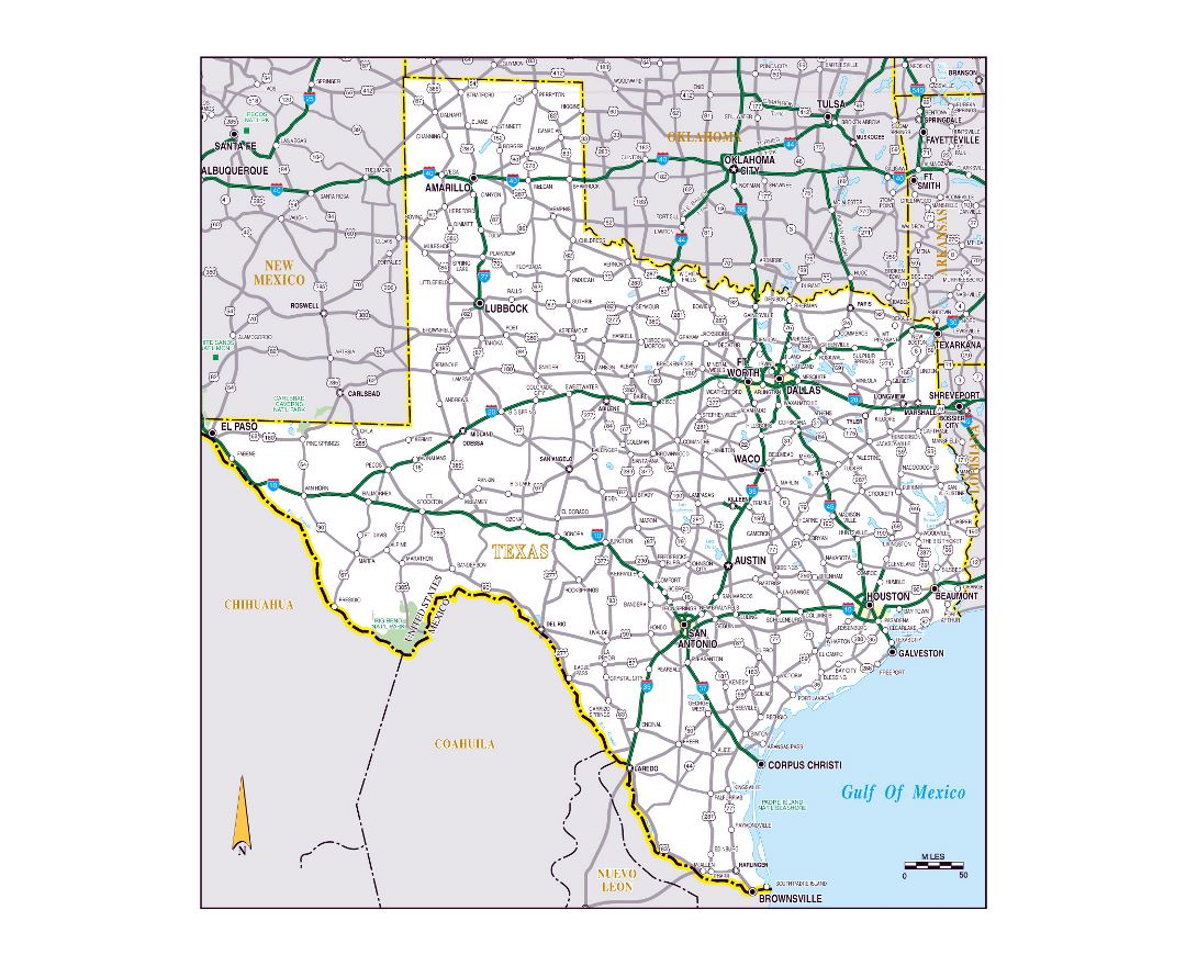 Large roads and highways map of the state of Texas