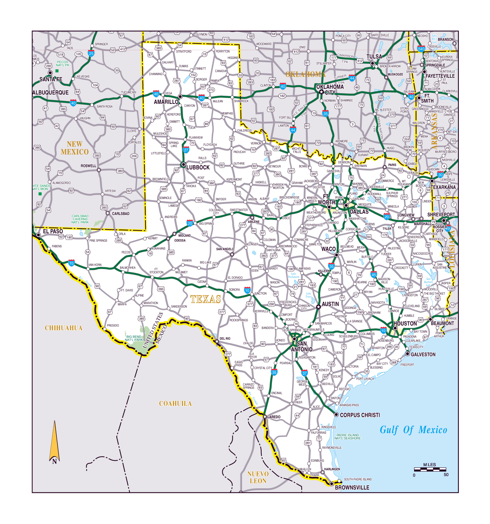 Map Of Usa Texas.Large Roads And Highways Map Of The State Of Texas Texas State