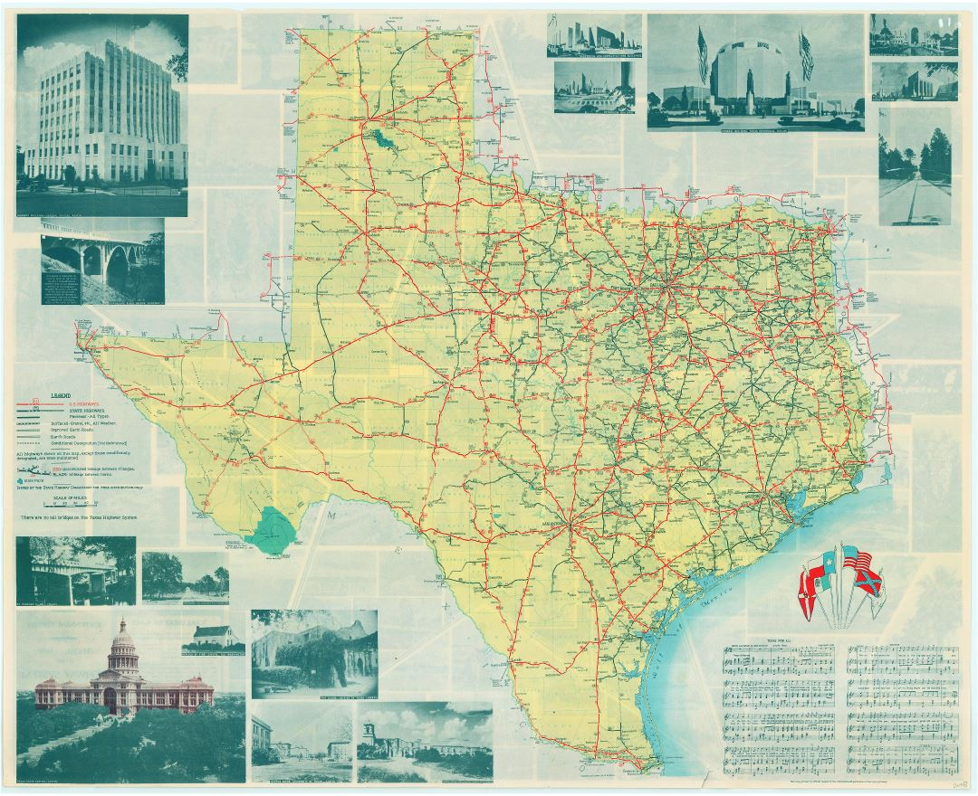 Large scale Texas state highway system map