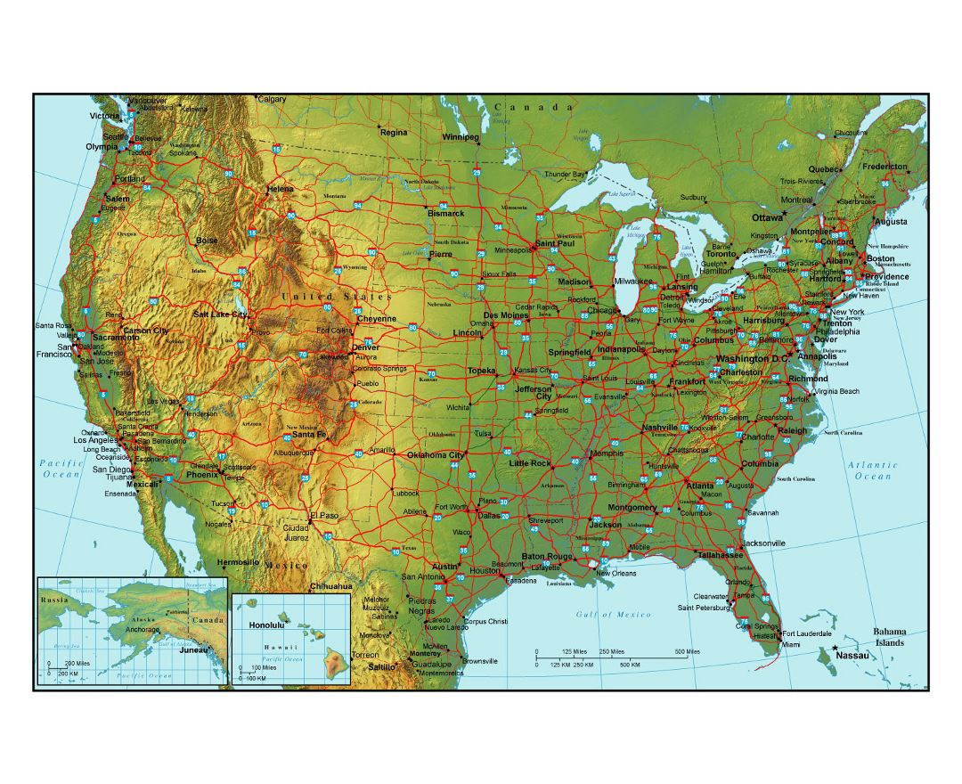 Topographical map of the USA with highways and major cities