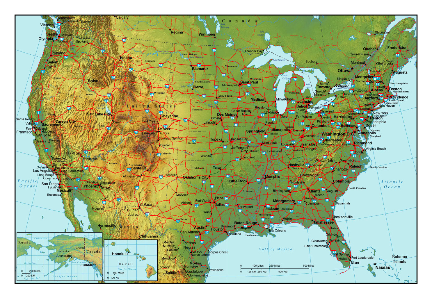 Topographical map of the USA with highways and major cities | USA