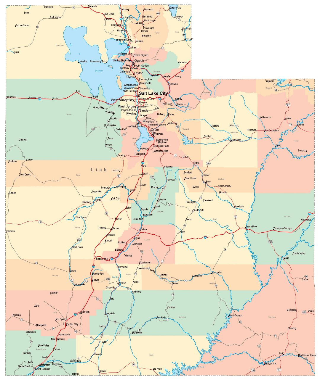 Large administrative map of Utah state with roads, highways and cities