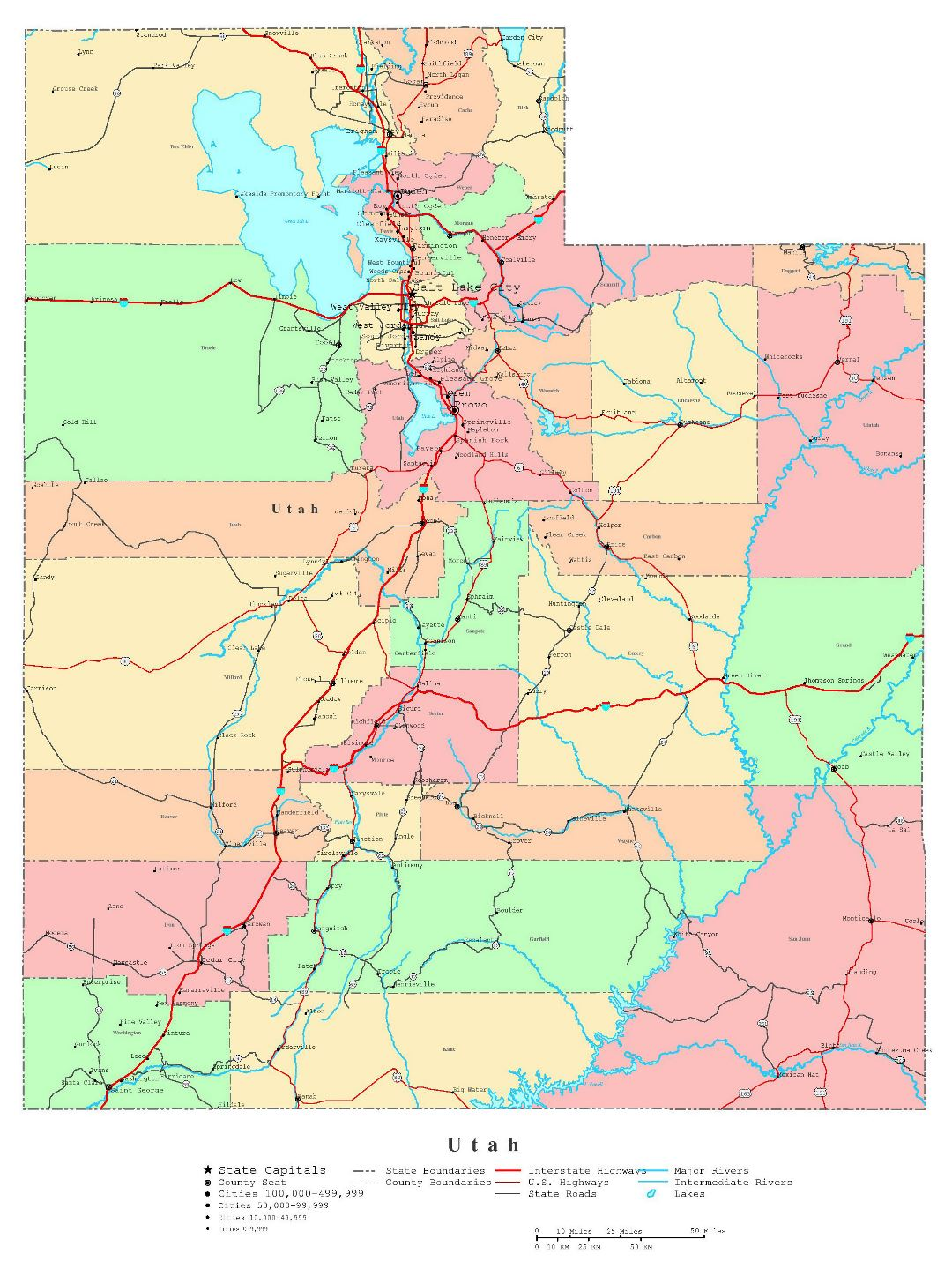 Large detailed administrative map of Utah state with roads, highways and cities