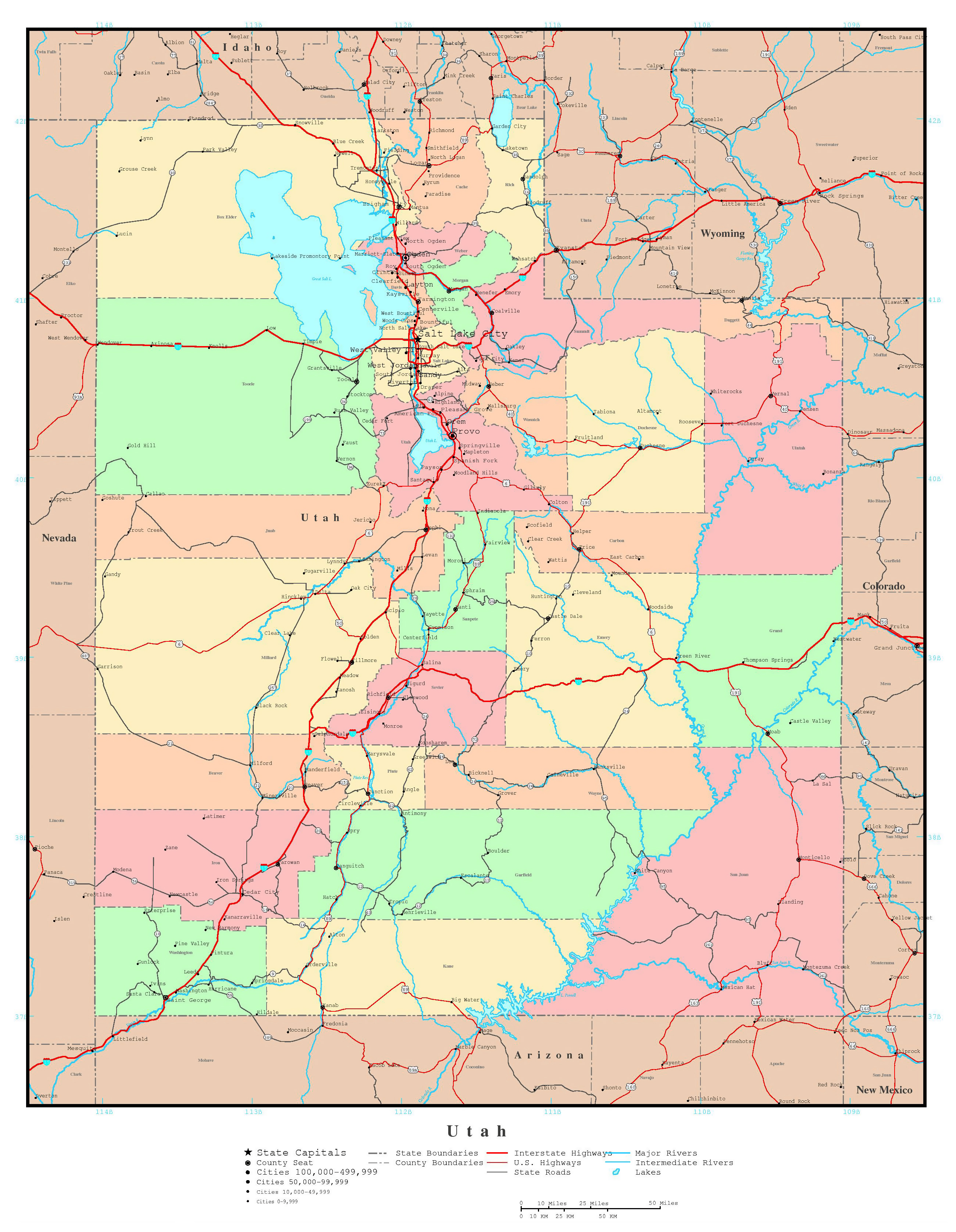Large detailed administrative map of Utah state with roads ...