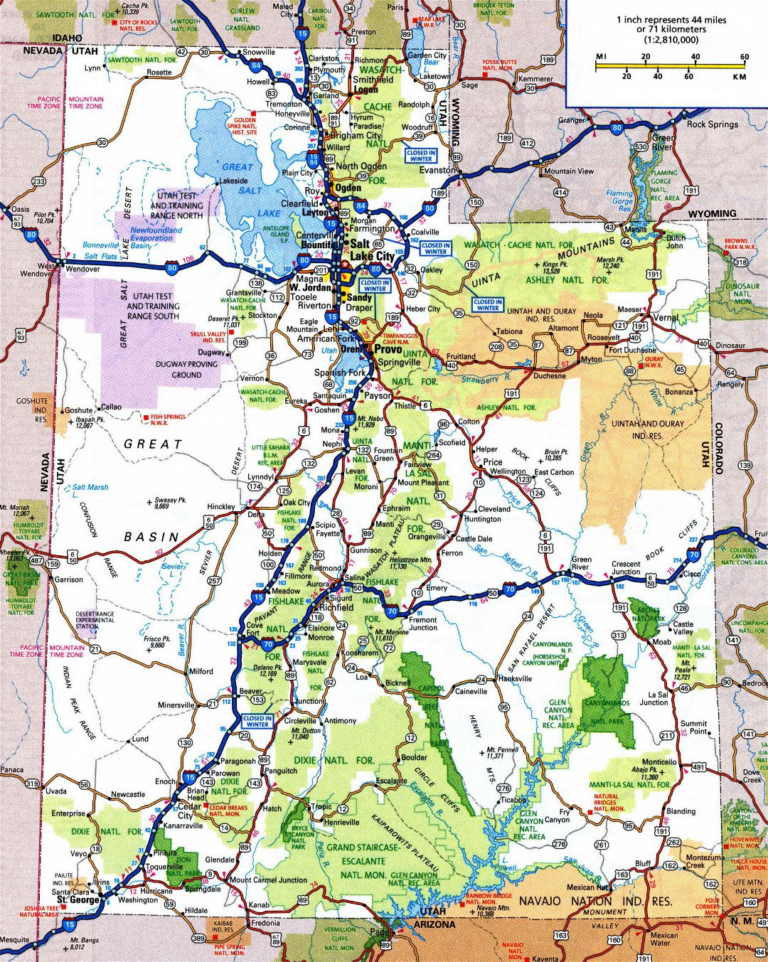 Large detailed roads and highways map of Utah state with all cities and national parks