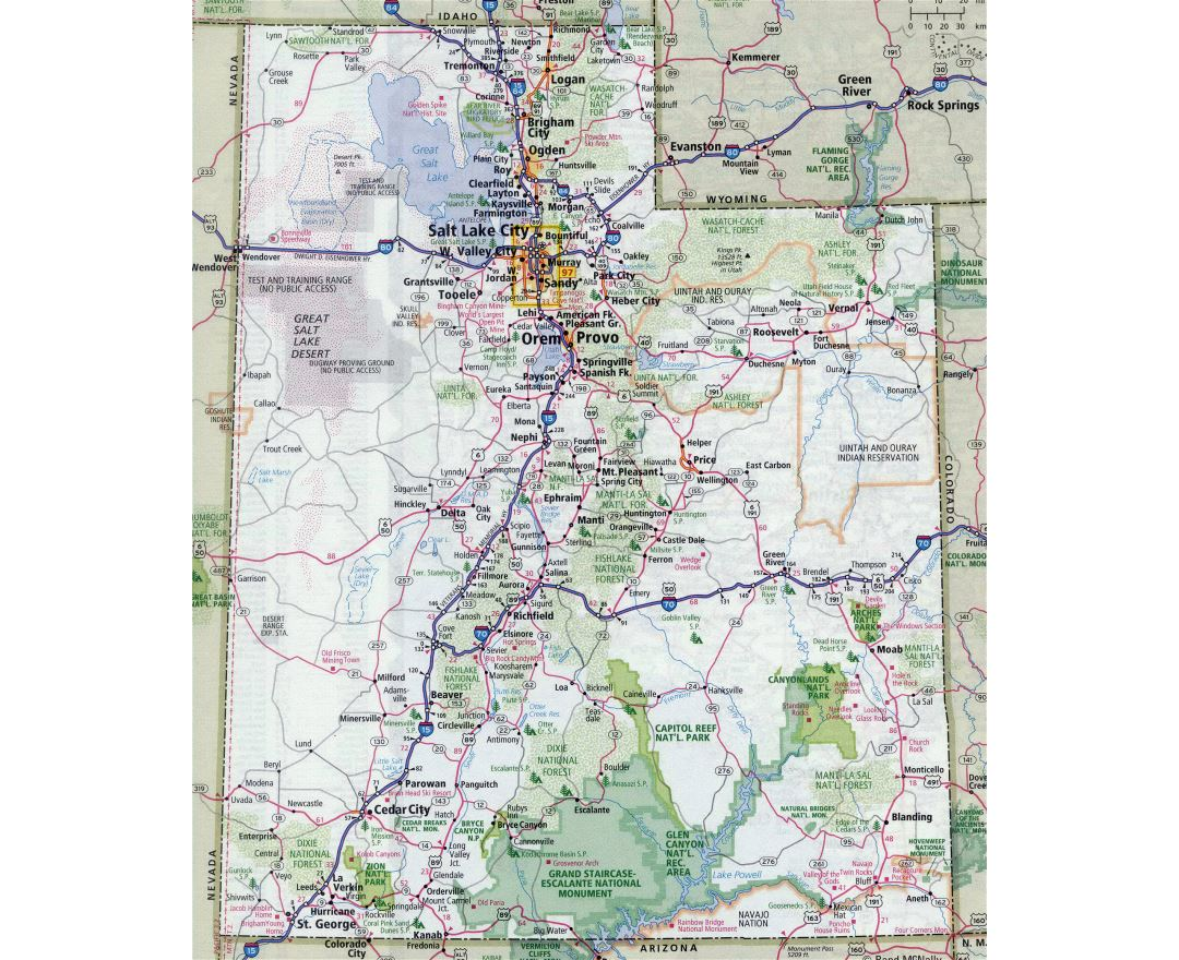 Maps of Utah state | Collection of detailed maps of Utah state ...