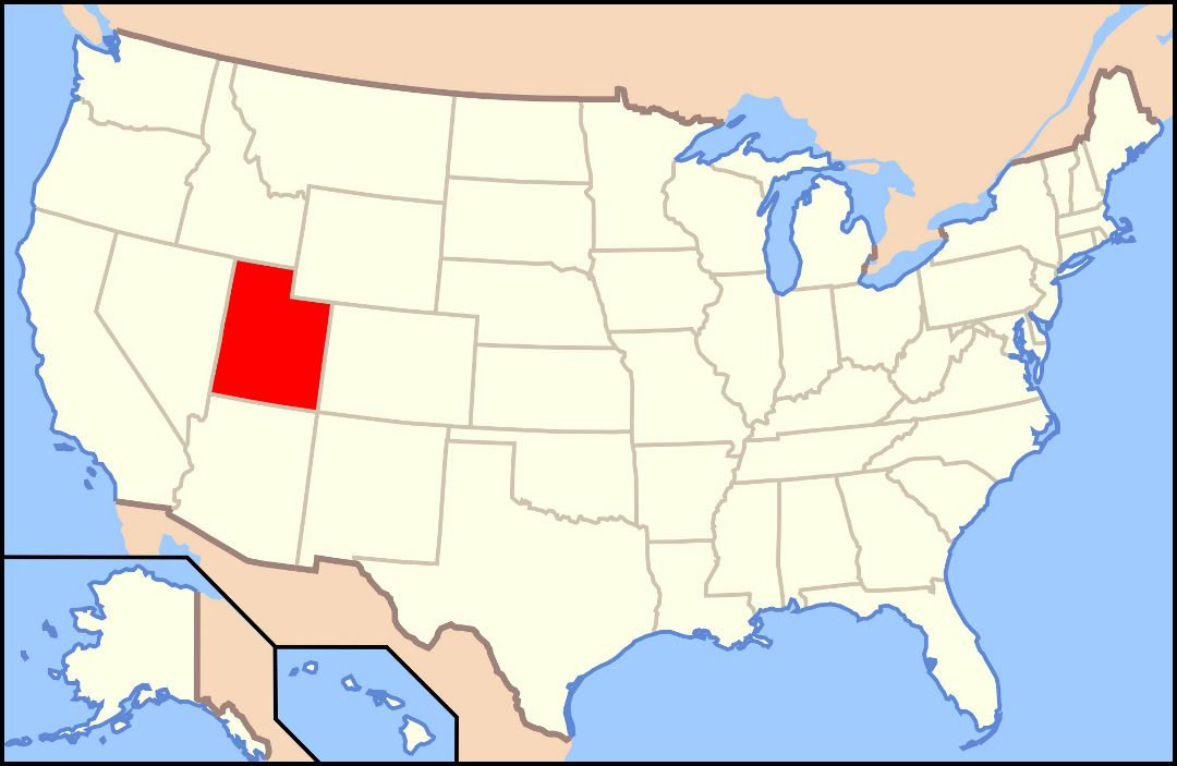 Large location map of Utah state