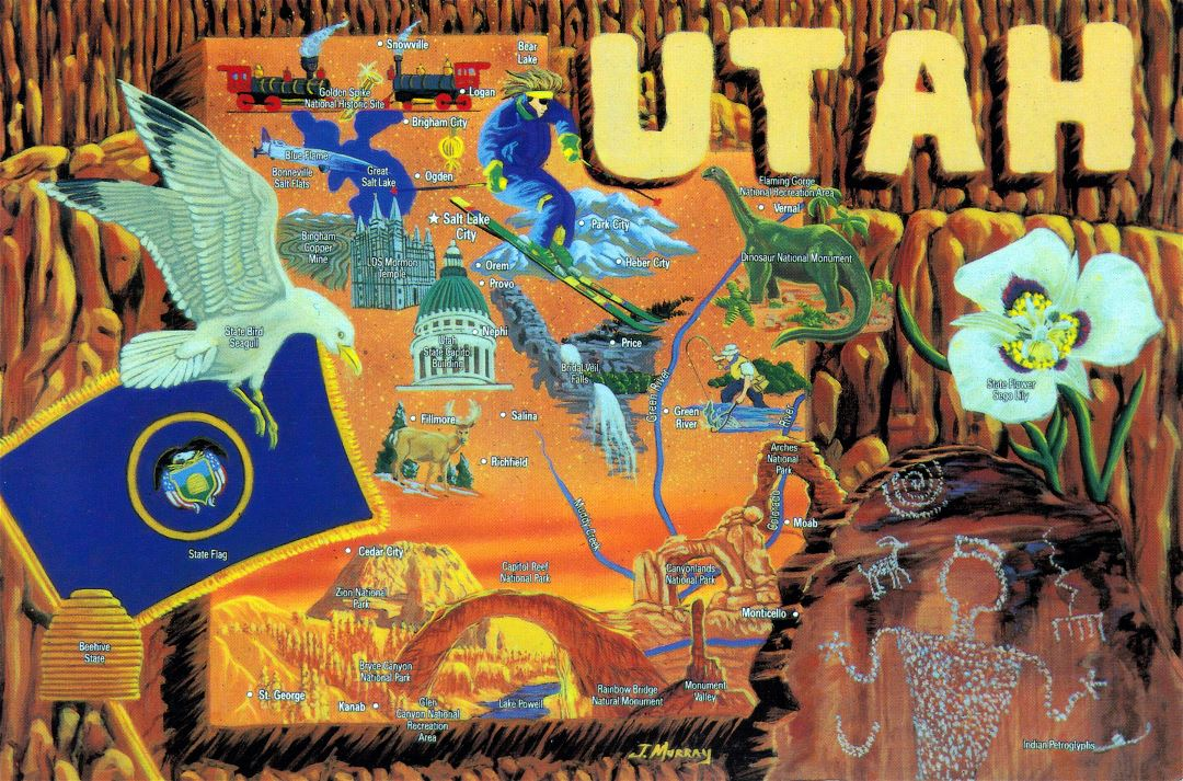 Large tourist illustrated map of Utah state